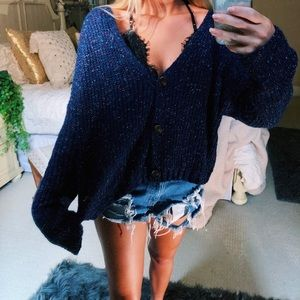 Sweaters - navy speckled knit cardigan